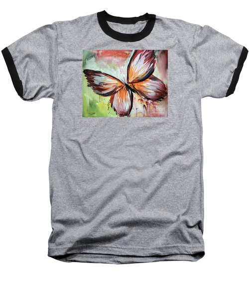 Acrylic Butterfly Baseball T-Shirt by Tom Riggs