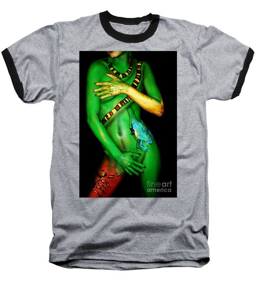 acrylic on FLESH Baseball T-Shirt by Tbone Oliver