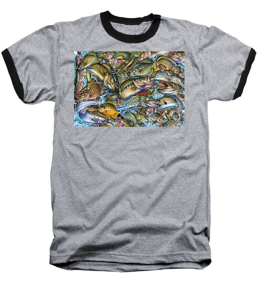 Action Fish Collage Baseball T-Shirt by Jon Q Wright JQ Licensing