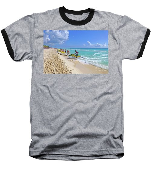 Baseball T-Shirt featuring the digital art Active Beach M3 by Francesca Mackenney
