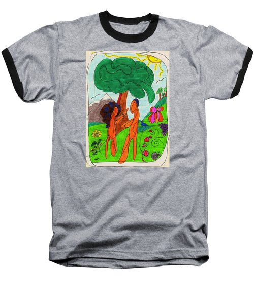 Adam And Eve Baseball T-Shirt by Martin Cline