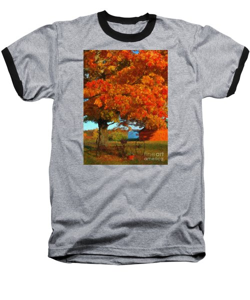 Baseball T-Shirt featuring the painting Adirondack Autumn Color Brush by Diane E Berry