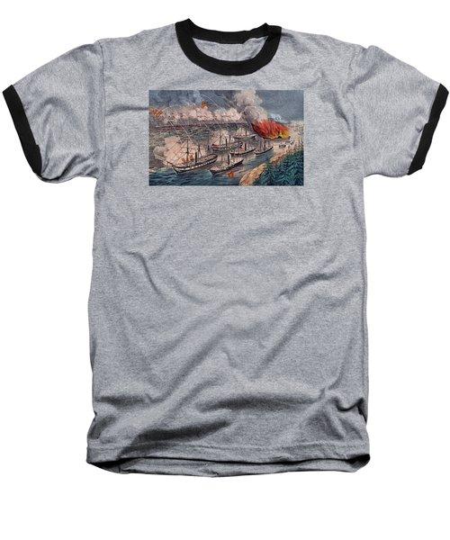 Admiral Farragut's Fleet Engaging The Rebel Batteries At Port Hudson Baseball T-Shirt by American School