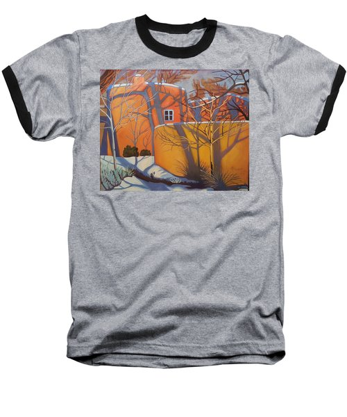 Adobe, Shadows And A Blue Window Baseball T-Shirt by Art West