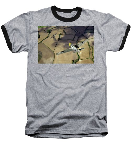 Baseball T-Shirt featuring the photograph Adolf Galland Attacking Spitfire by Gary Eason