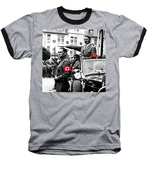 Adolf Hitler Giving The Nazi Salute From A Mercedes #3 C. 1934-2015 Baseball T-Shirt by David Lee Guss