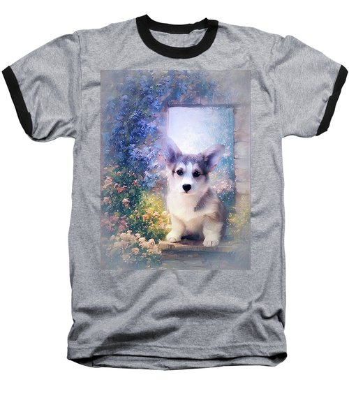 Adorable Corgi Puppy Baseball T-Shirt