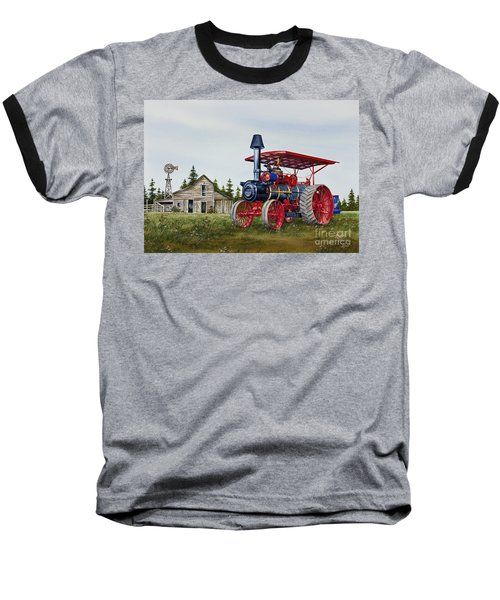 Baseball T-Shirt featuring the painting Advance Rumely Steam Traction Engine by James Williamson