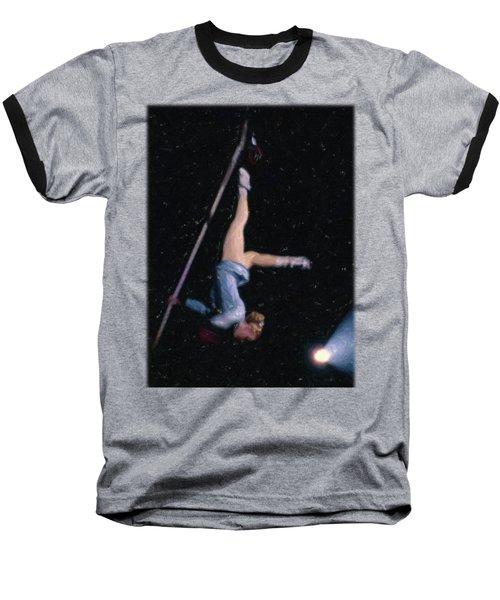 Aerial Acrobat Baseball T-Shirt by Jon Delorme