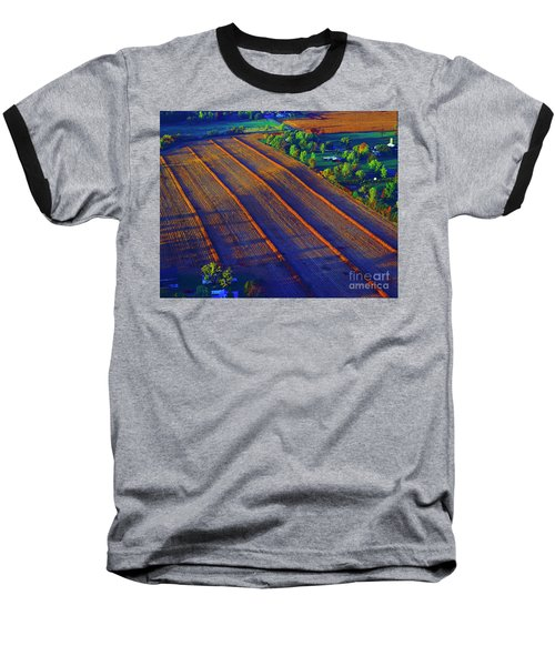 Aerial Farm Field Harvested At Sunset Baseball T-Shirt