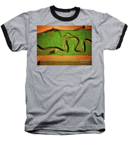Aerial Farm Stream Baseball T-Shirt