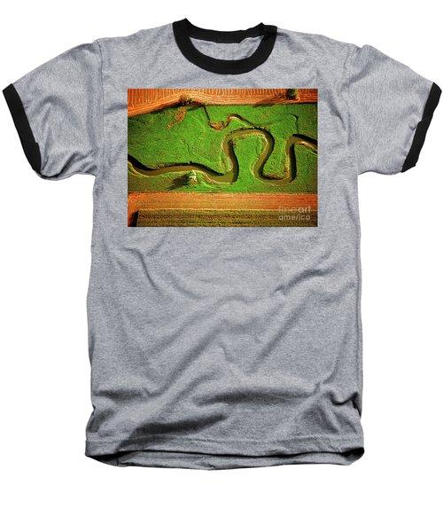 aerial, farm, stream, northern, Illinois, farms, meandering  Baseball T-Shirt