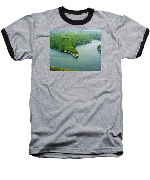 Aerial Image Of  Long Point Cliff Baseball T-Shirt by Mark Allen