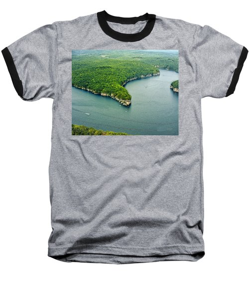 Aerial Image Of  Long Point Cliff Baseball T-Shirt