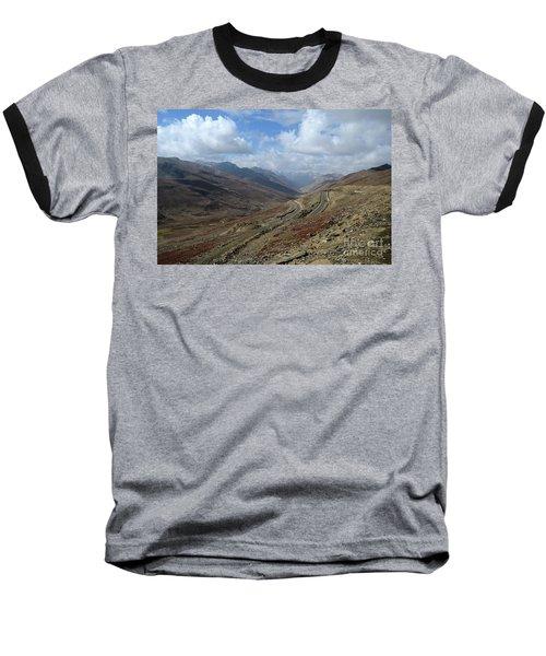 Aerial Shot Of Mountainous Karakoram Highway Babusar Pass Pakistan Baseball T-Shirt