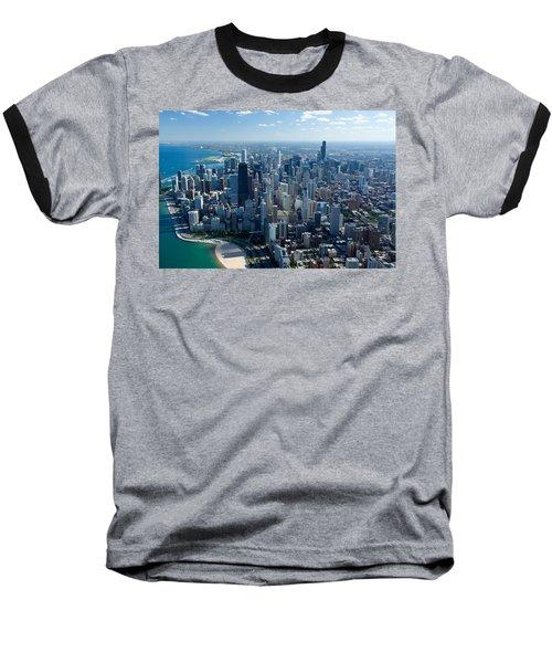 Aerial View Of A City, Lake Michigan Baseball T-Shirt