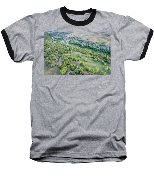 aerial view of Dismal River in Nebraska Sandhills Baseball T-Shirt