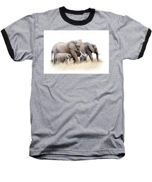 African Elephant Group Isolated Baseball T-Shirt