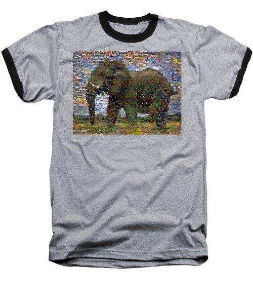 Baseball T-Shirt featuring the mixed media African Elephant Wild Animal Mosaic by Paul Van Scott