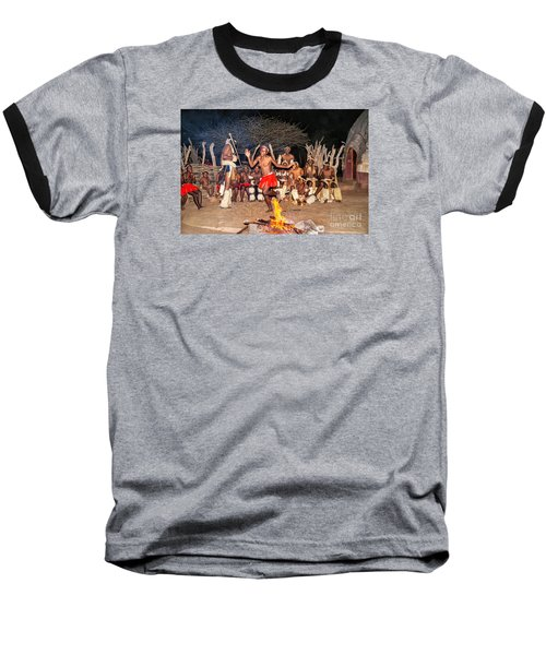 Baseball T-Shirt featuring the photograph African Fire Dance by Rick Bragan