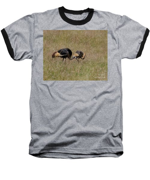 African Grey Crowned  Crane With Chick Baseball T-Shirt
