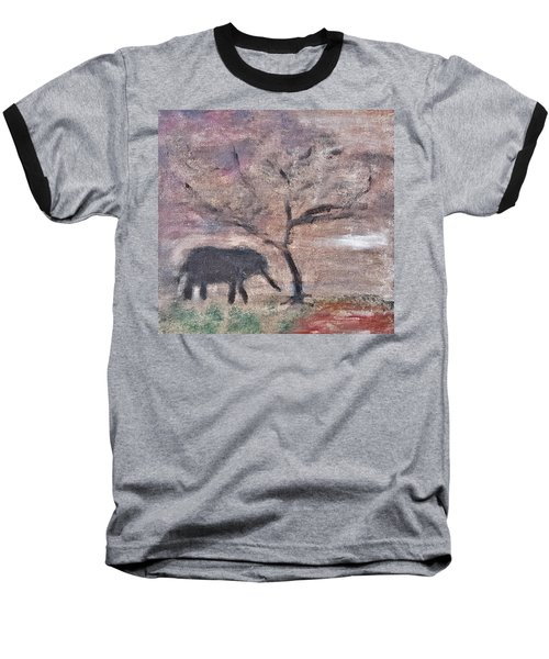African Landscape Baby Elephant And Banya Tree At Watering Hole With Mountain And Sunset Grasses Shr Baseball T-Shirt