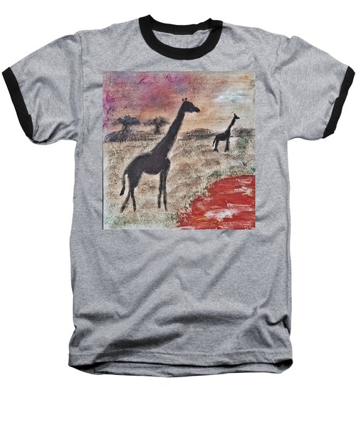 African Landscape Giraffe And Banya Tree At Watering Hole With Mountain And Sunset Grasses Shrubs Sa Baseball T-Shirt by MendyZ