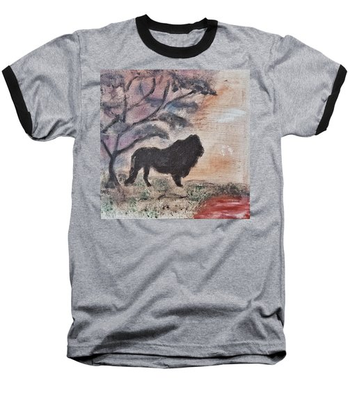 African Landscape Lion And Banya Tree At Watering Hole With Mountain And Sunset Grasses Shrubs Safar Baseball T-Shirt by MendyZ