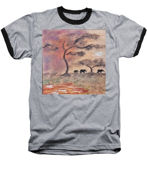 African Landscape Three Elephants And Banya Tree At Watering Hole With Mountain And Sunset Grasses S Baseball T-Shirt by MendyZ