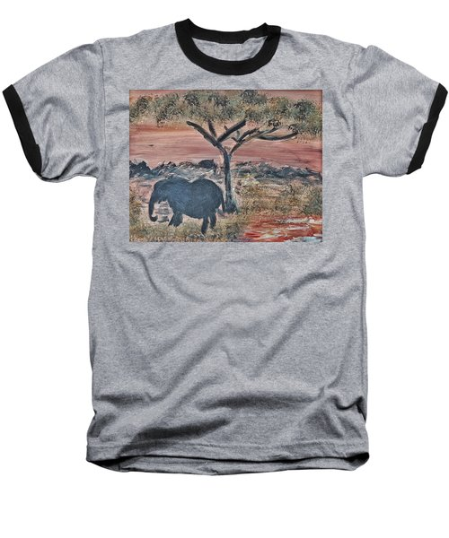 African Landscape With Elephant And Banya Tree At Watering Hole With Mountain And Sunset Grasses Shr Baseball T-Shirt by MendyZ