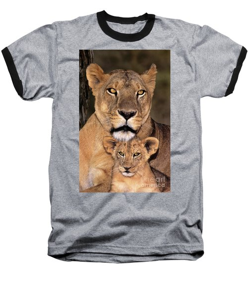 Baseball T-Shirt featuring the photograph African Lions Parenthood Wildlife Rescue by Dave Welling