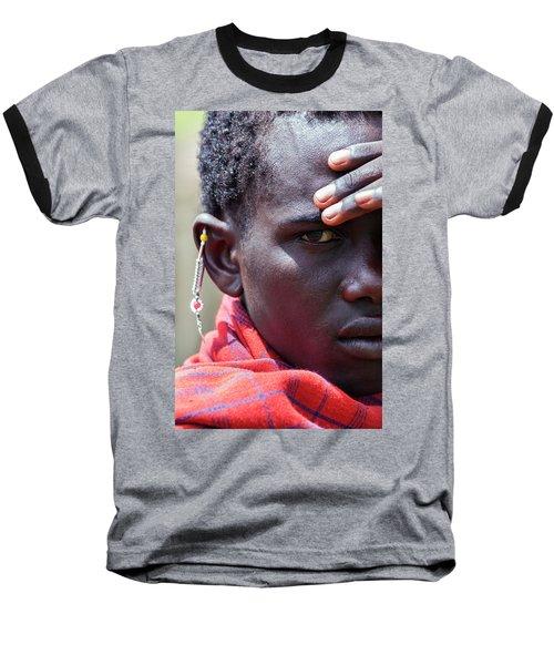 African Maasai Warrior Baseball T-Shirt