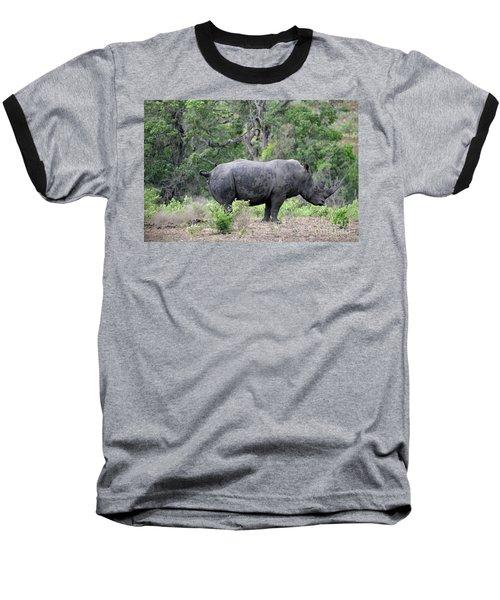 African Safari Naughty Rhino Baseball T-Shirt by Eva Kaufman