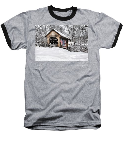 After A Winter Snow Storm Cilleyville Covered Bridge  Baseball T-Shirt