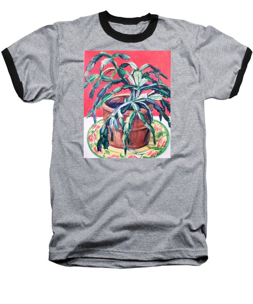 Christmas Cactus Baseball T-Shirt by Laura Aceto