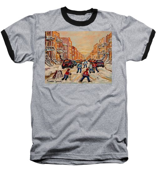 Baseball T-Shirt featuring the painting After School Hockey Game by Carole Spandau