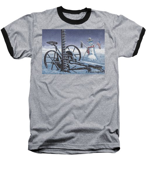 After The Harvest Snowman Baseball T-Shirt by John Stephens