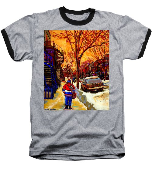 After The Hockey Game A Winter Walk At Sundown Montreal City Scene Painting  By Carole Spandau Baseball T-Shirt