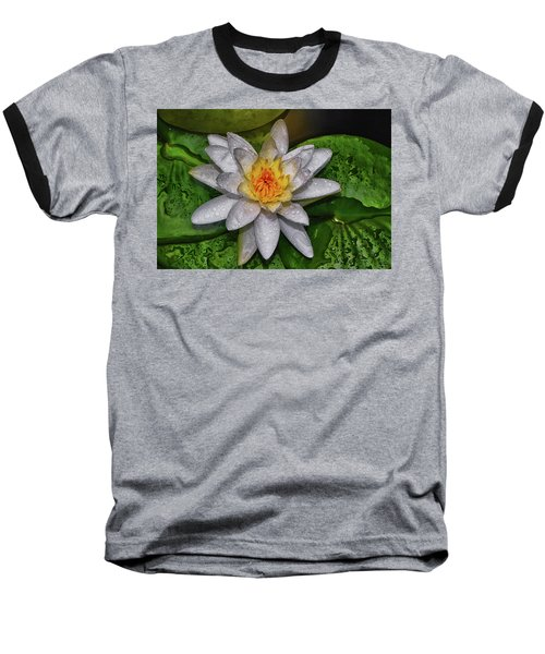 Baseball T-Shirt featuring the photograph After The Rain - Water Lily 003 by George Bostian