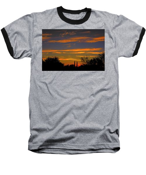 Baseball T-Shirt featuring the photograph Afterglow Silhouette H49 by Mark Myhaver