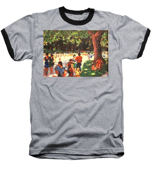 Afternoon In The Park Baseball T-Shirt by Walter Casaravilla