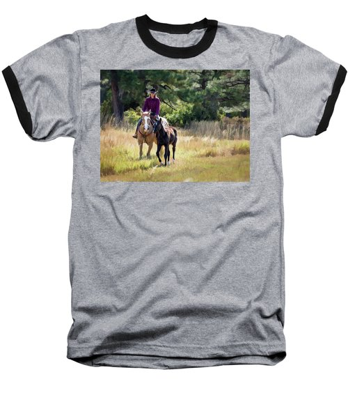 Afternoon Ride In The Sun - Cowgirl Riding Palomino Horse With Foal Baseball T-Shirt by Nadja Rider