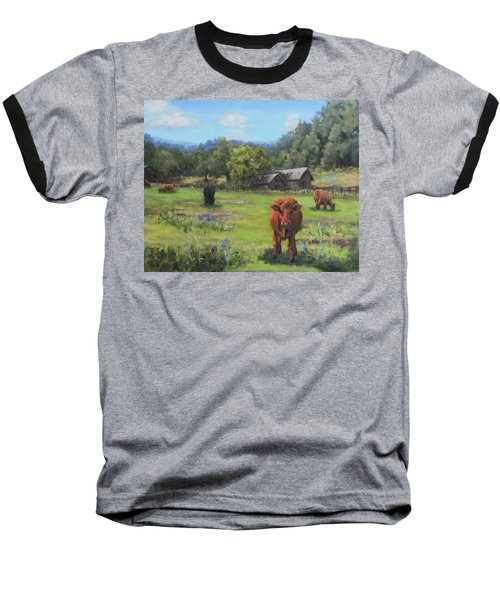 Baseball T-Shirt featuring the painting Afternoon Snack by Karen Ilari