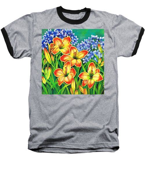 Baseball T-Shirt featuring the painting Agapanthus And Lillies by Val Stokes