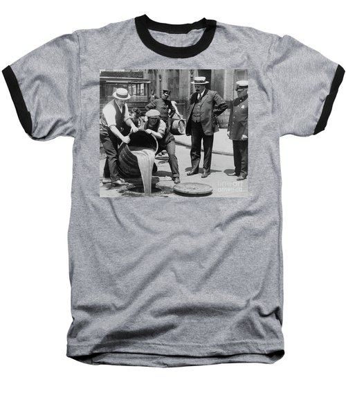 Agents Pouring Alcohol Down A Sewer During Prohibition Era Baseball T-Shirt