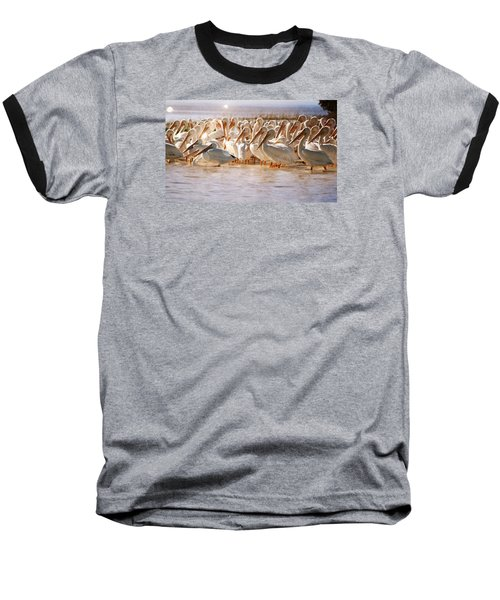 Aglow White Pelicans Baseball T-Shirt