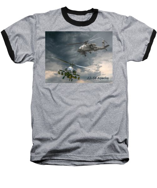 Ah-64 Apache Attack Helicopter In Flight Baseball T-Shirt
