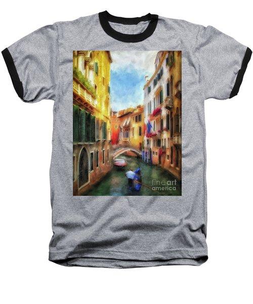 Baseball T-Shirt featuring the digital art Ahh Venezia Painterly by Lois Bryan