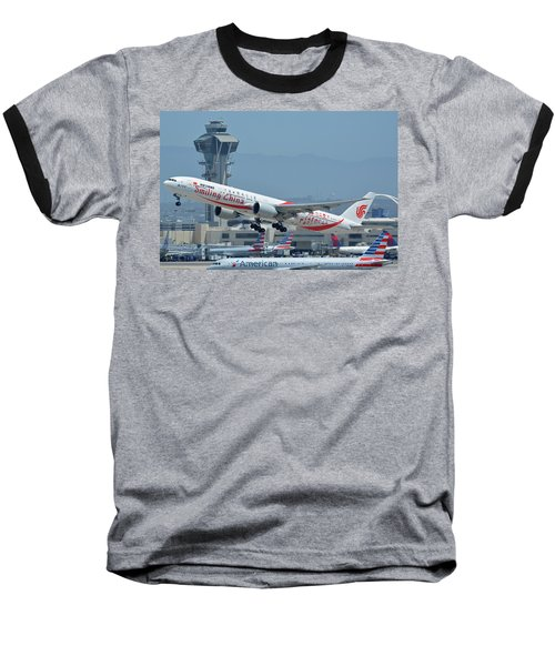 Baseball T-Shirt featuring the photograph Air China Boeing 777-39ler B-2035 Smiling China Los Angeles International Airport May 3 2016 by Brian Lockett