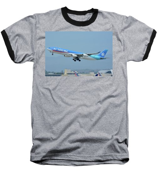 Baseball T-Shirt featuring the photograph Air Tahiti Nui Airbus A340-313x F-osea Los Angeles International Airport May 3 2016 by Brian Lockett